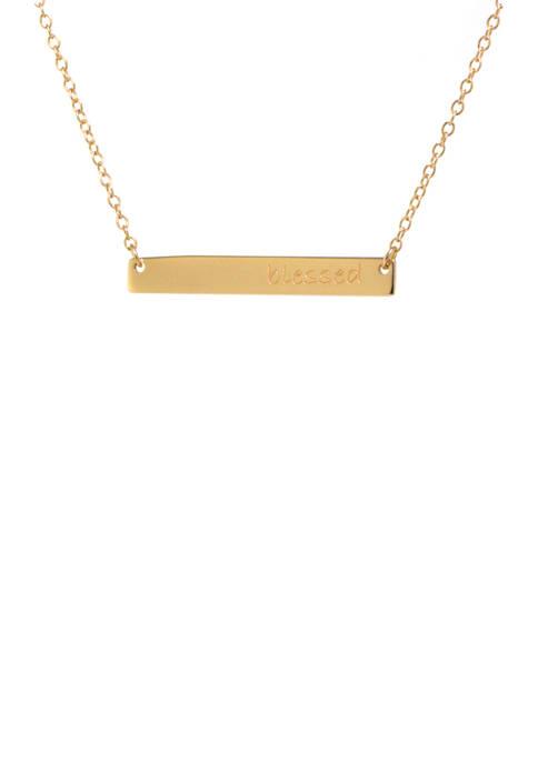 Belk Silverworks Gold Tone Blessed Bar Necklace