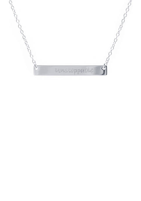 Silver Tone Unstoppable Bar Necklace