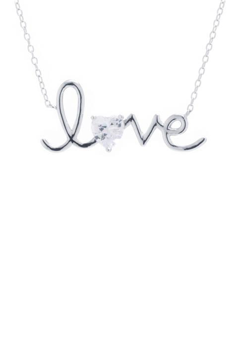 Boxed Love Script with Cubic Zirconium Necklace