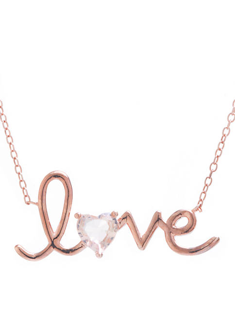 Belk Silverworks Rose Gold-Tone Love Morganite Cubic Zirconia