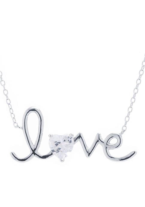 Belk Silverworks Sterling Silver Love With Cubic Zirconia