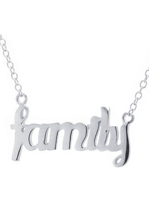 Boxed Sterling Silver Family Scripted Necklace