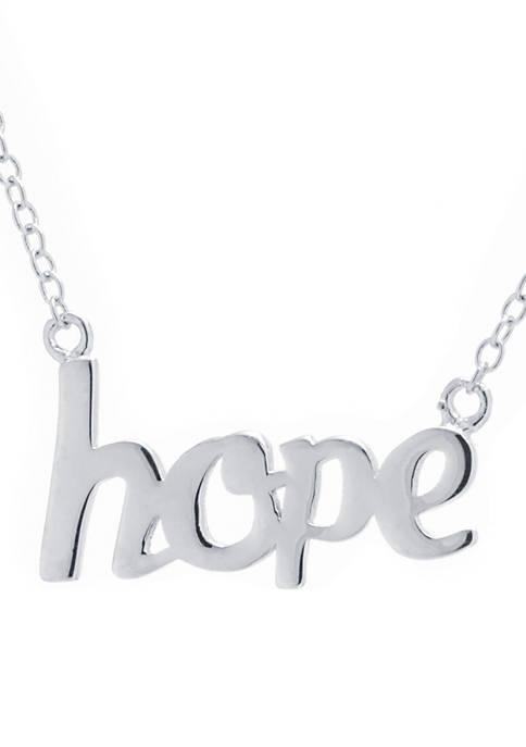 Belk Silverworks Boxed Sterling Silver Hope Script Necklace