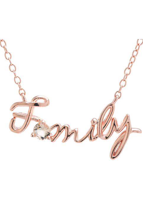 Rose Gold-Tone Family With Morganite Cubic Zirconia Script Necklace