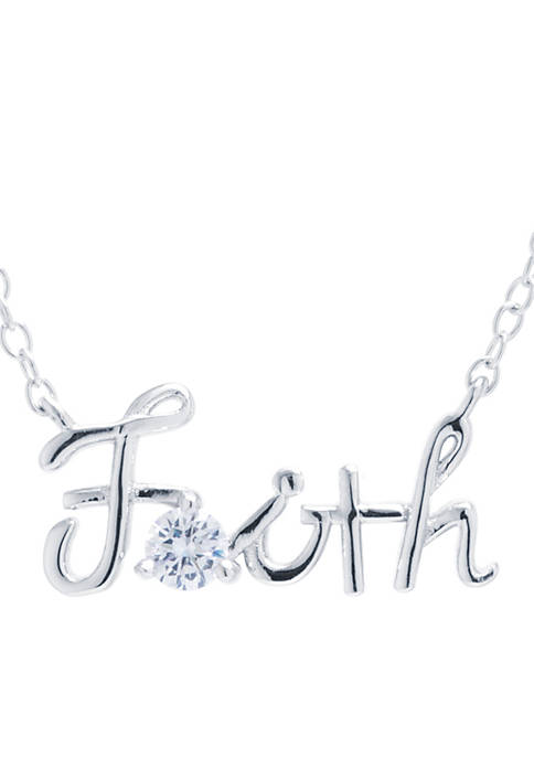 Sterling Silver Faith With Cubic Zirconia Script Necklace