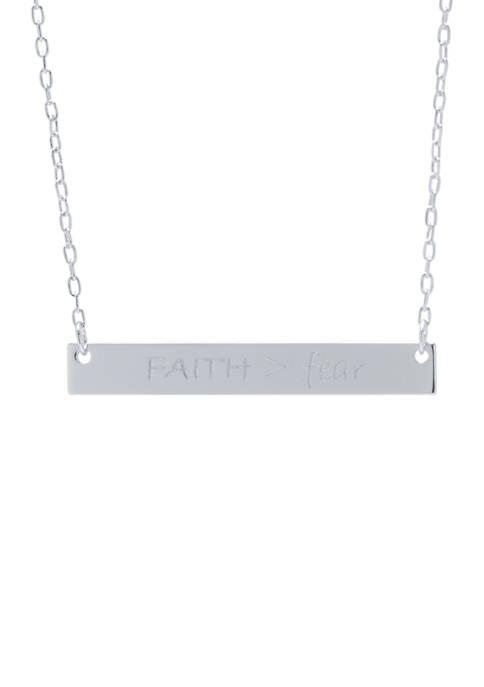 Belk Silverworks Silver Tone Faith Fear Bar Necklace