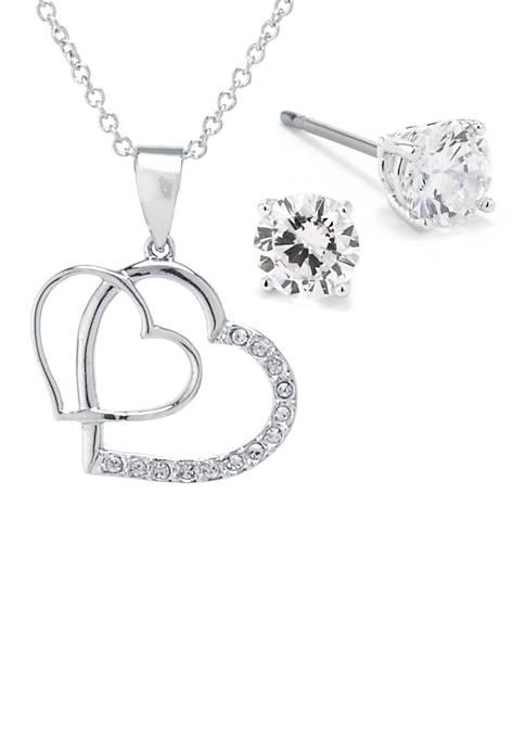 Belk Silverworks Fine Silver Plated Double Heart Cubic