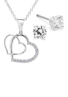 88534c1060c Belk Silverworks Fine Silver Plated Double Heart Cubic Zirconia Pendant and  Stud Earrings Boxed Set ...