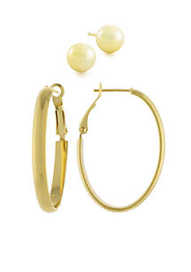 Boxed Gold Over Fine Silver Plated 8MM Ball Stud Earring And Oval Omega Hoop Earring Set