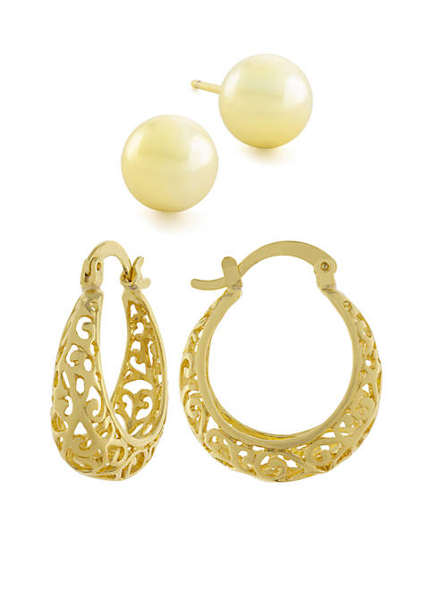 Gold-Tone Ball Studs And Filigree Hoop Earrings Boxed