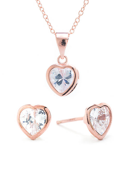 Rose Gold-Tone Small Heart Cubic Zirconia Necklace and Earring Set