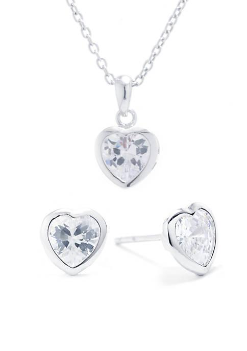 Belk Silverworks Sterling Silver Small Heart Cubic Zirconia