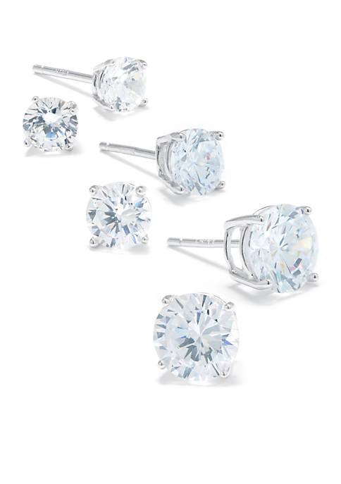 Belk Silverworks Sterling Silver Cubic Zirconia Stud Earring