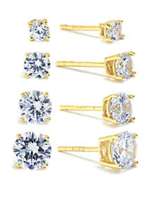 Gold-Over Sterling Silver Round Cubic Zirconia Stud Earring Set