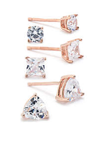 Belk Silverworks Rose Gold Over Sterling Silver Cubic Zirconia Stud Earring Set