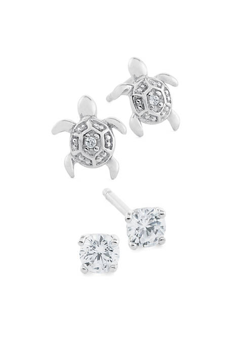 Cubic Zirconia Turtle Stud Set