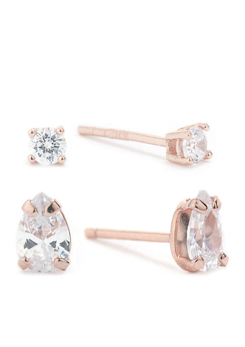 Belk Silverworks Rose Gold Over Sterling Silver Stud