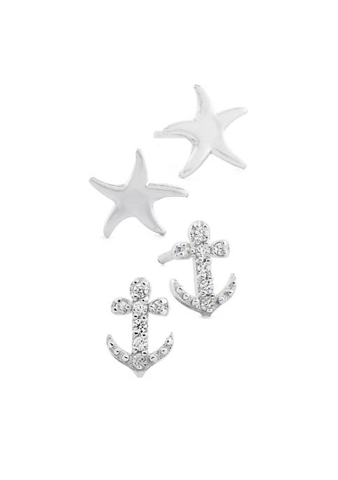Belk Silverworks Sterling Silver Starfish and Cubic Zirconia