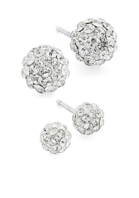 Belk Silverworks Sterling Silver Crystal Pave Ball Stud