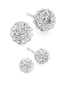 Belk Silverworks Sterling Silver Crystal Pave Ball Stud Earring Set