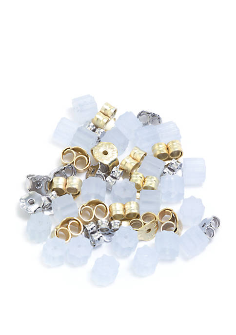6 Sterling Silver, 6 Gold Over Sterling Silver and 24 Rubber Earring Backs