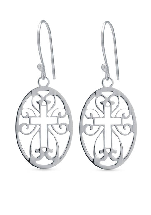 Belk Silverworks Sterling Silver Cutout Cross Oval Drop