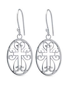 Sterling Silver Cutout Cross Oval Drop Earrings
