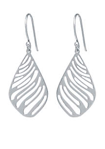Sterling Silver Laser Cut Zebra Teardrop Earrings