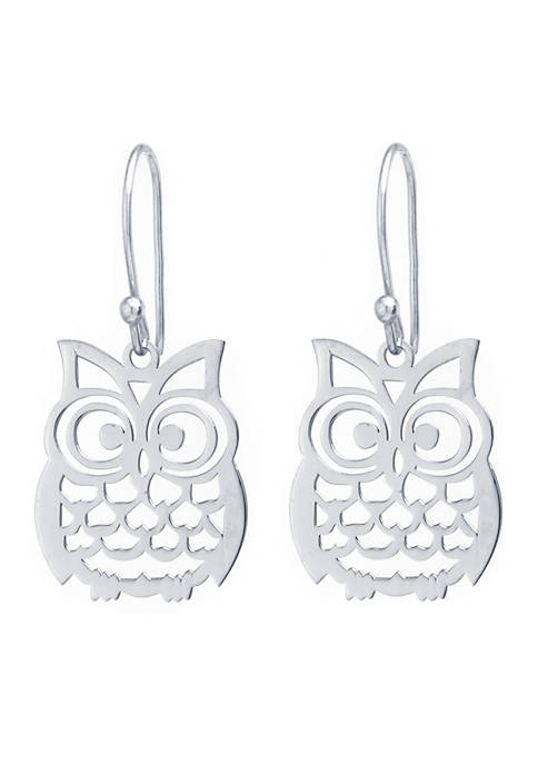 Sterling Silver Laser Cut Owl Drop Earrings