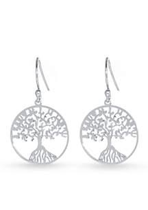 Sterling Silver Laser Cut Tree of Life Drop Earring