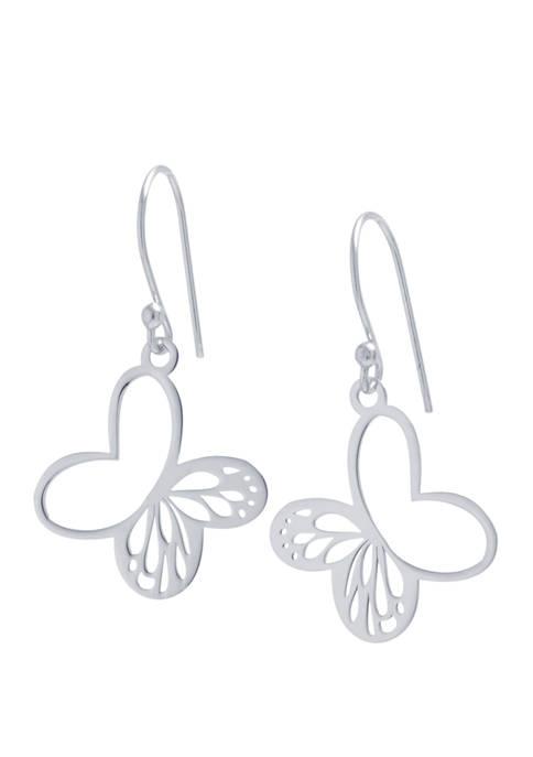 Sterling Silver Butterfly Drop Earrings
