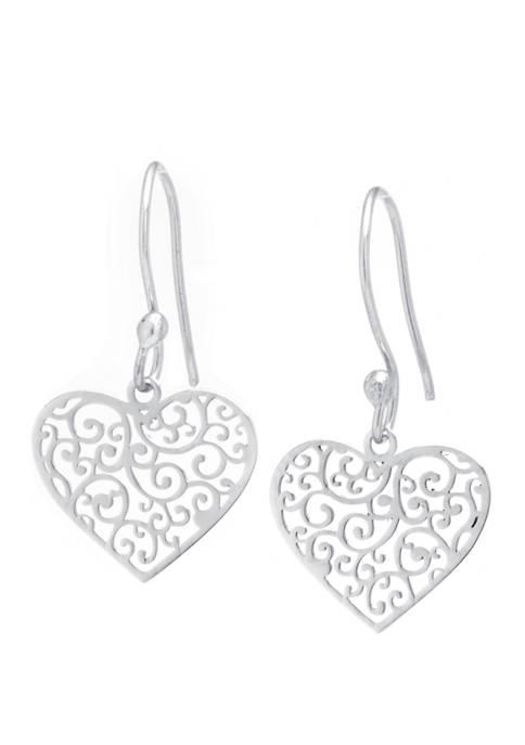 Sterling Silver Heart with Pattern Drop Earrings