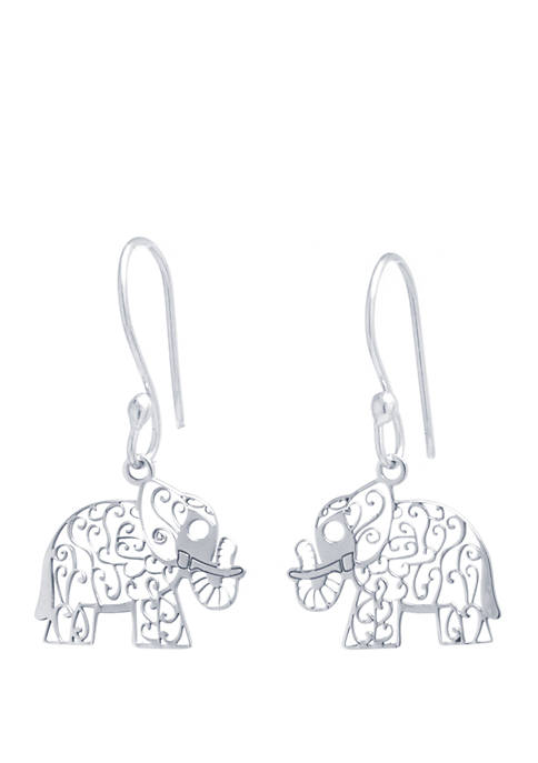 Sterling Silver Laser Cut Elephant Drop Earrings