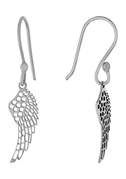 Belk Silverworks Sterling Silver Angel Wings Drop Earrings