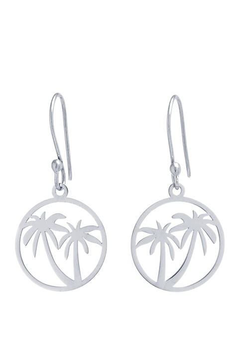 Sterling Silver Laser Cut Palm Tree Drop Earrings