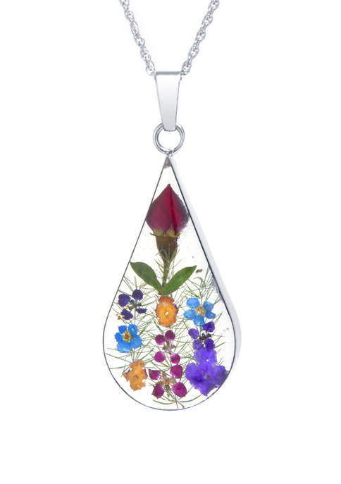 Infinity Silver Sterling Silver Multi Color Dried Flower