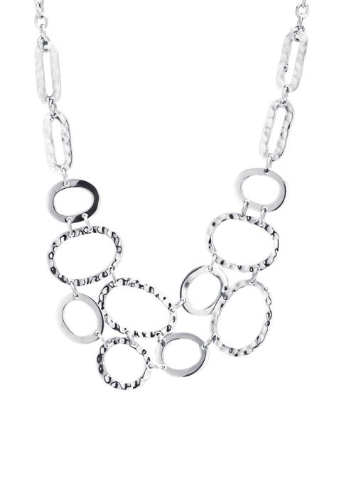 Infinity Silver Sterling Silver Oval Hammered Bib Necklace
