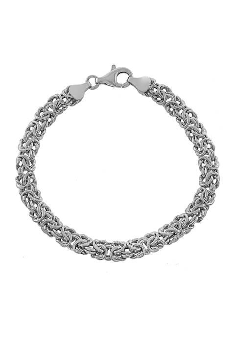 Infinity Silver Sterling Silver 7.5 Inch Byzantine Bracelet