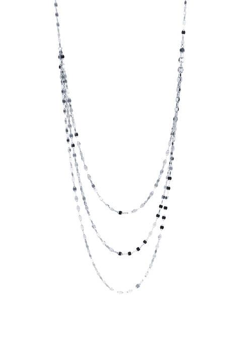 Sterling Silver Triple Row Diamond Cut Necklace
