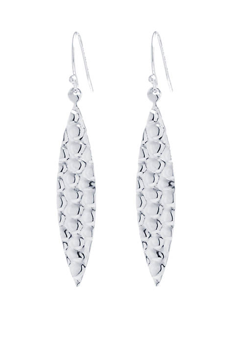 Sterling Silver Hammered Long Marquise Earrings