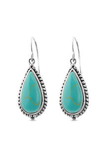 Sterling Silver Reconstituted Turquoise Tear Wire Earrings