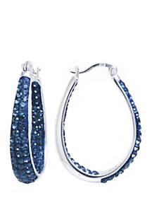Belk Silverworks Sterling Silver Dark Blue Crystal Oval Hoop Earrings