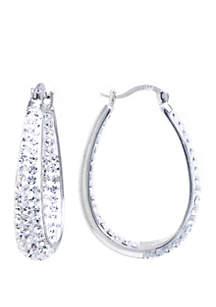 Belk Silverworks Sterling Silver Clear Crystal Oval Hoop Earrings