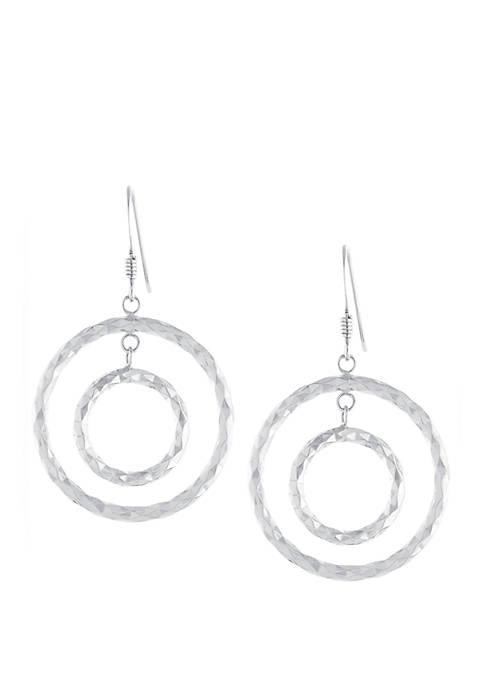 Sterling Silver Diamond Cut Double Circle Drop Earrings