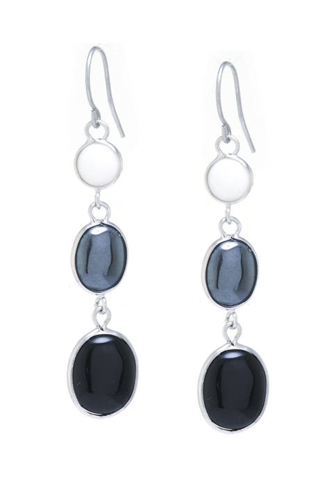 Sterling Silver Graduated Mother of Pearl, Hematite and Black Chalcedony Earrings
