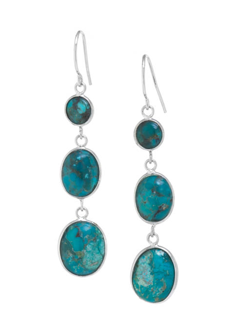 Sterling Silver Graduated Enhanced Turquoise Earrings