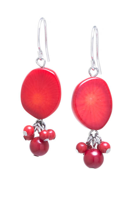 Infinity Silver Sterling Silver Simulated Coral Oval Drop