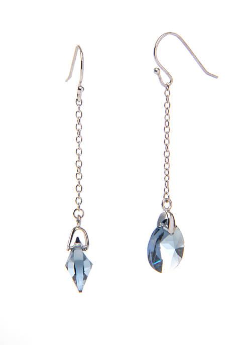 Sterling Silver Swarovski® Blue Chain Linear Drop Earrings