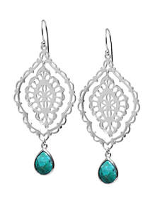 Sterling Silver Marquis Enhanced Turquoise Drop Earrings