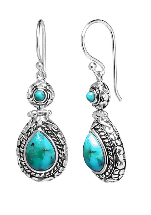 Sterling Silver Enhanced Circle and Teardrop earrings